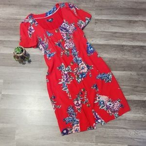 Anthropologie Maeve red floral button down dress 4